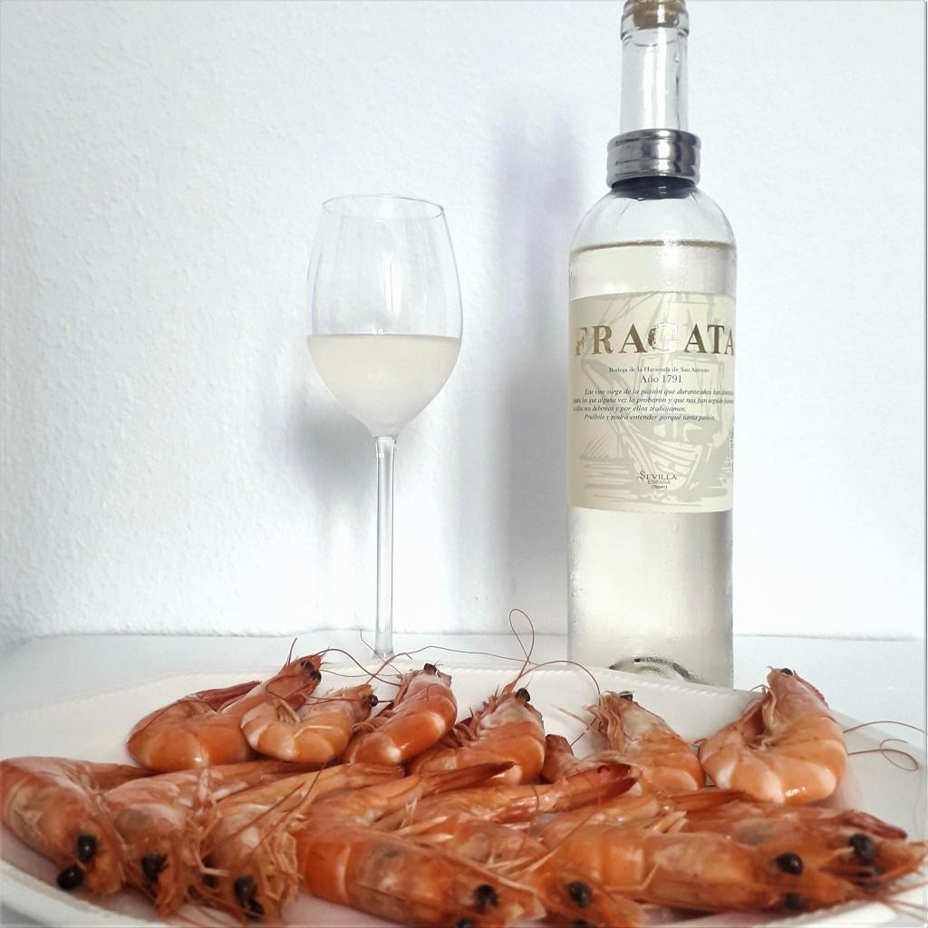 Vino blanco y marisco