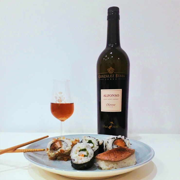 maridaje vino oloroso y sushi